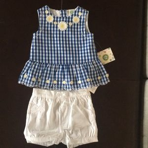 Blue and white gingham shorts set